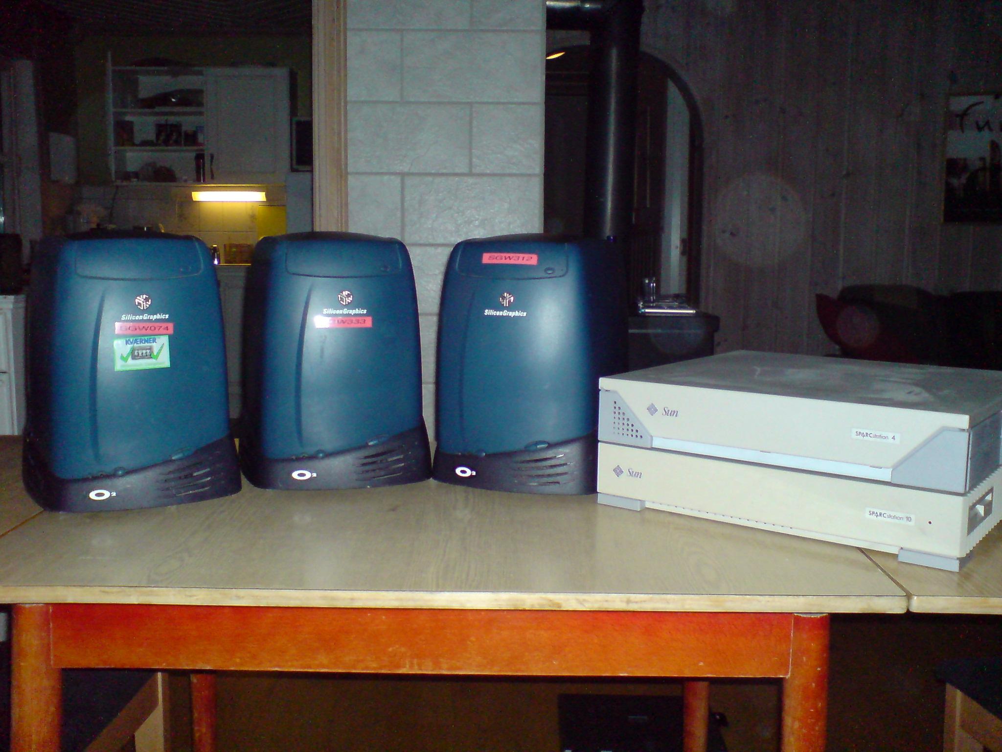 SGI O2 og SPARCStation 4 og SPARCStation 10